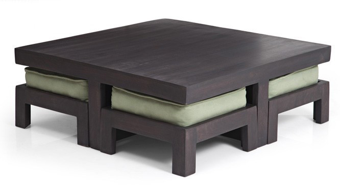 The Kivaha is a low coffee table set that comes with four stools