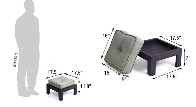 A dimensioned view of the stool