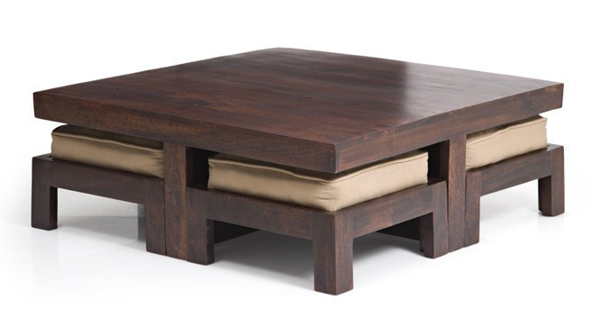 It is a low coffee table set that comes with four stools